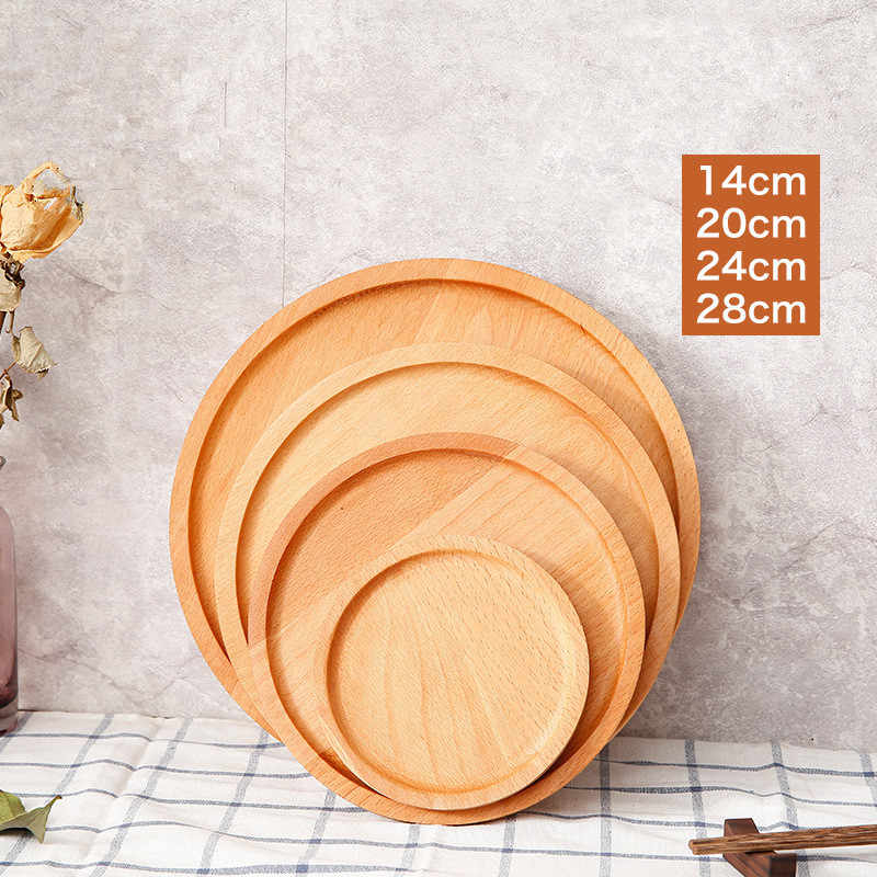 Round/Square Beech Wood Cake Dishes Home/ Hotel/School Dessert Serving Tray Wood Sushi Bread Plate Dinnerware Tableware Set
