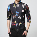 2017 New Spring Printing butterfly Shirts Men Casual Slim Jeans Shirt New Arrival Long Sleeve Casual Slim Fit Male Shirts