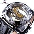 Forsining הרשמי מכירה בלעדי כפול צד שקוף אופנה עסקי עיצוב שלד אוטומטי גברים שעונים למעלה מותג יוקרה-בשעונים מכניים מתוך שעונים באתר
