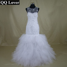 QQ Lover 2017 African Flowers Beaded Open Back Mermaid font b Wedding b font Dress Custom