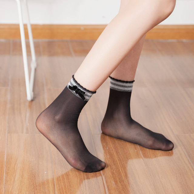 RVYVON Fashion Summer Casual Glitter Bowknot Women Japanese Style Socks Soft Comfy Sheer Cotton Elastic Sexy Street Velvet Socks 1