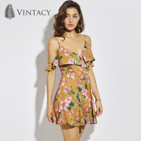 Vintacy Summer Dress Yellow Print Floral Mini A Line Spaghetti Strap Backless Sexy Dress V Neck