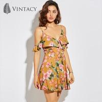 Vintacy Summer Dress Yellow Print Floral Mini A Line Spaghetti Strap Backless Sexy Dress V Neck