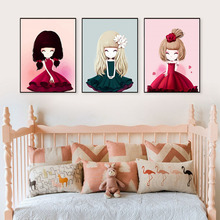ФОТО every girl is a little princess cartoon prints and posters canvas art nursery bedroom canvas paintings wall pictures home decor