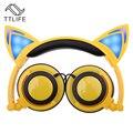 TTLIFE Plegable Intermitente Glowing cat ear auriculares para Juegos de Auriculares con luz LED Para El Ordenador portátil PC Teléfonos Móviles