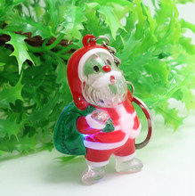 Christmas gifts LED key chain Santa series white Snow Christmas tree transparent portable flashlight wholesale
