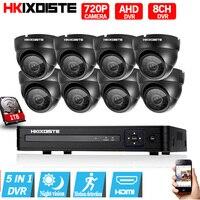 8CH CCTV Security System HD 1080N AHD DVR 8PCS 720P IR Indoor CCTV Camera System