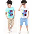 [Bosudhsou] hot-selling summer clothing set child boys girls clothing kids clothes children sport suits 100% cotton 4-15Y WT-5