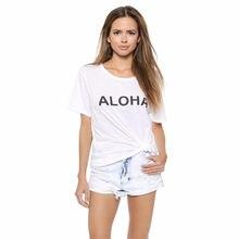 16480bdc4e0d69 2018 Printemps Et D été Femmes de T-shirt Américain De Mode Aloha T-shirt  T-shirts Lettres Imprimé Lâche Coton Mignon T-shirt T-.