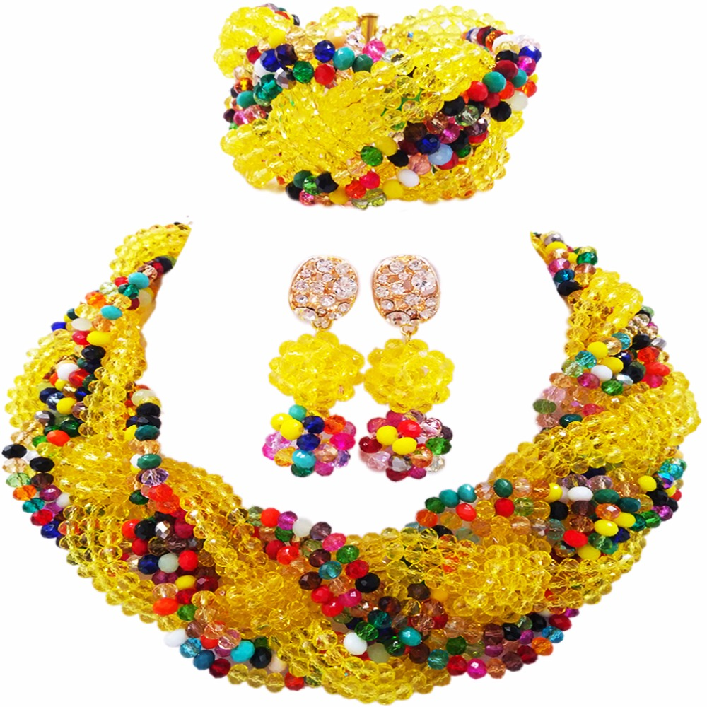 Bella Giallo Cristallo Multicolori Collane di Perline Costume Wedding nigeriano Beads Africani Jewelry Set per le Donne 12BZ19Bella Giallo Cristallo Multicolori Collane di Perline Costume Wedding nigeriano Beads Africani Jewelry Set per le Donne 12BZ19