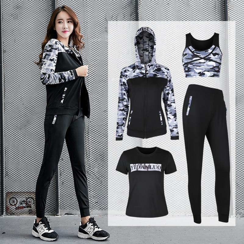 Yoga Set Women Sportswear For Fitness Bra Shirt Pants 4 Pcs Sportswear Running Battle Fatigues Breathable