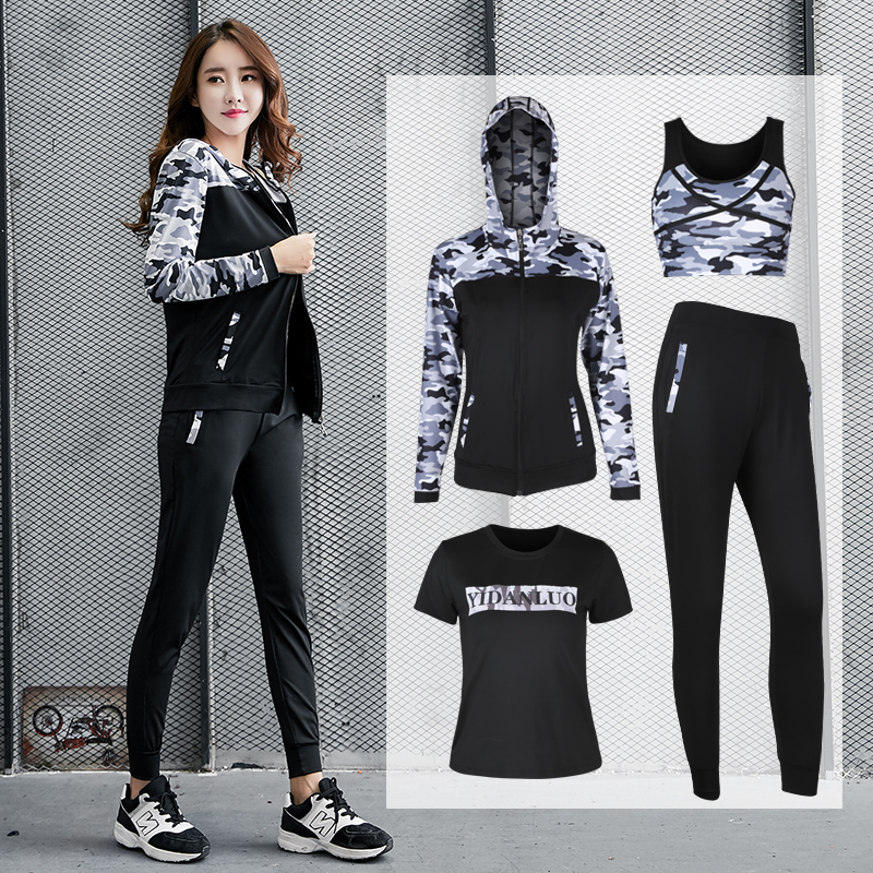 2018 Women Yoga Set Fitness Zipper Hoodie Sport Bra Shirt Pants 4 Pcs Sportswear Running Battle Fatigues Breathable Sports Suit lyseacia breathable sport suit women fitness suit yoga bra long sleeeve hoodies running yoga t shirt sports leggings sportswear