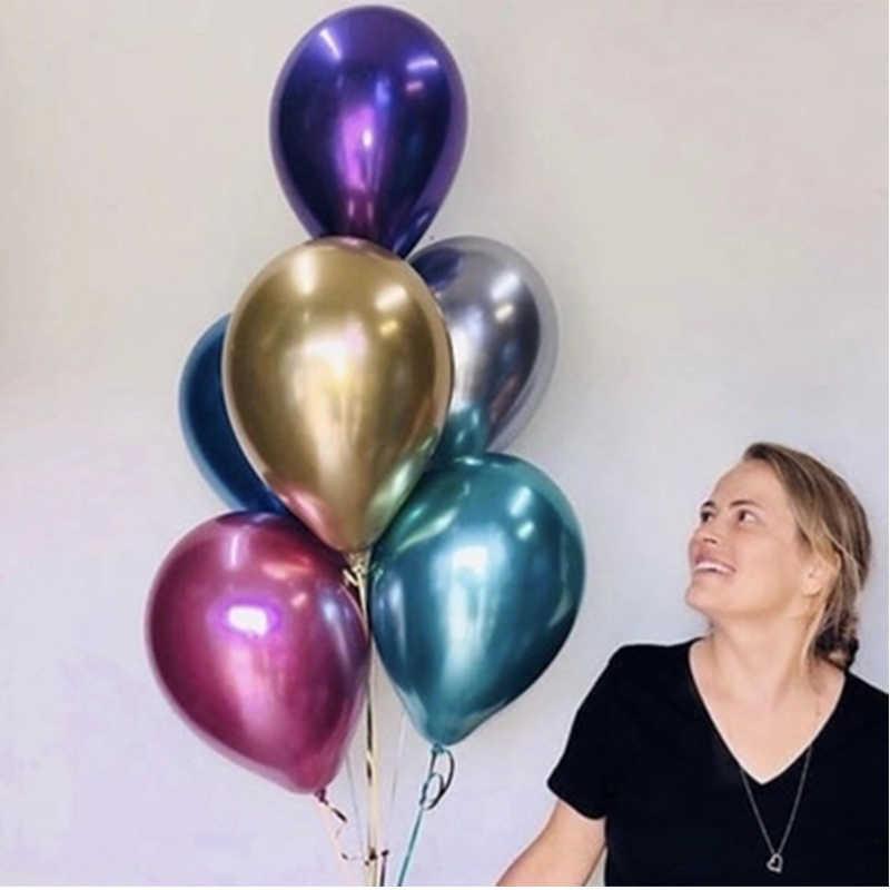 人気の光沢のある金属真珠ラテックスバルーン 10 & quot 厚いクローム色インフレータブル気球膨張可能な Metalicos パーティー