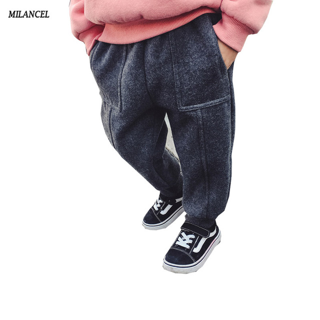 Milancel 2017 Winter Kids Pants Casual Girls Trousers Thicken Lining