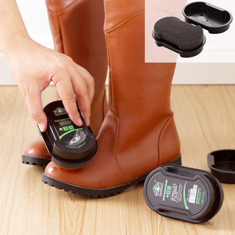 40g Multi-funcional Dupla-face Sapato Polonês Incolor Luz Sapatos de Couro Esfregar Sapatos Cuidados Esponja Óleo Transparente cera