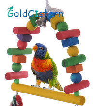 Hot Wooden Pet Bird Parrot Toys 40cm Color Arch Bridge Swing Bell Toy Pet Products Accessories for Parrots Drop Shipping