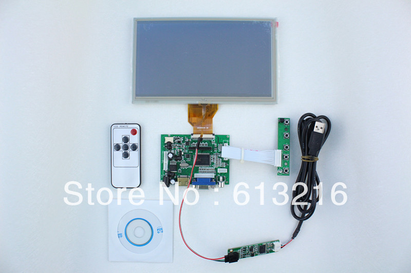 HDMI+2AV +VGA of LCD driver board +8 inch LCD panel with 800*480 +  touch panel with control card+Remote control  +OSD keypad hdmi vga 2av reversing driver board 8inch at080tn52 800 600 with touch panel