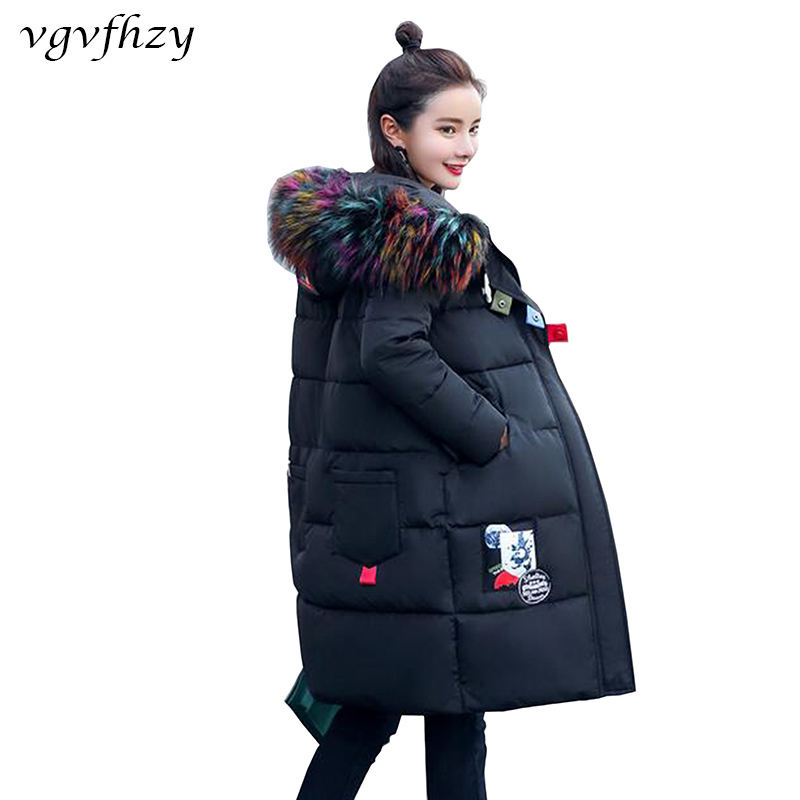 2017 Big Fur Collar Winter Jacket Women Coat Warm Slim Thick Long Parkas Raccoon Fur Collar Hooded Women Coats Female Jackets 2017 women jackets and coats solid slim large fur collar hooded short parkas thick jacket winter women warm coat overcoat sy003