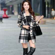 women jacket jacket women Korean version of spring and autumn new Slim and long sections woolen coat