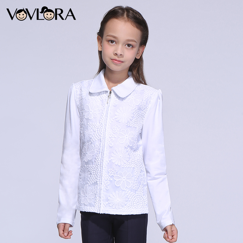 Kids shirt for girls school blouses lace white cotton long sleeves turn down collar zipper autumn 2017 size 7 8 9 10 11 12 years