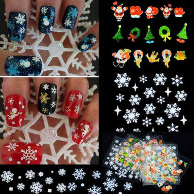 12 Sheets 3d Christmas Snowflake Tree Nail Art Sticker Christmas