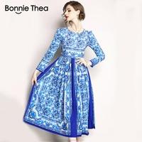 2018 sommer femme Vintage Blauen und weißen porzellan langes kleid vestidos frauen volle hülse party kleider damen büro kleid