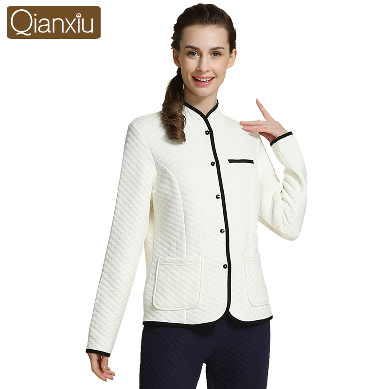 a70f5e493dee Qianxiu Winter Thermal Thick Women Pajamas Sets Solid Cashmere Home Hoodies Lounge  Tops   Bottoms Women s Warm Pyjamas 1561-in Pajama Sets from Women s ...