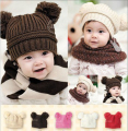 Fashion Baby Winter Hat For Girls Boys High Quality Fur pompoms Ball Baby Beanies Cap Crochet Kids Knitted Hats