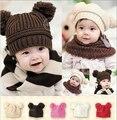 Moda bebê chapéu do inverno para meninas meninos de alta qualidade pompons pele bola Cap gorros bebê Crochet crianças malha chapéus