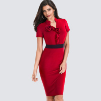 Retro Women Pure Color Patchwork Wear To Work Flower Office Business Dress Formal Summer Fitted Bodycon