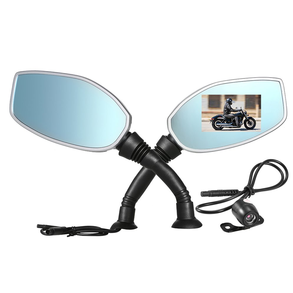 2.4 Display Motorcycle Rearview Mirror Twin Camera Motorbike Video Camcorder Waterproof HD Traffic Data Recorder Dual Lens