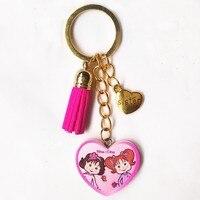 1 תריסר אחות טובה סגנון חדש מגולף עץ חמוד KeyChain טאסל שרשרת זהב לב אדום בהיר אהבה מקסים מחזיקי מפתחות מפתח טבעת