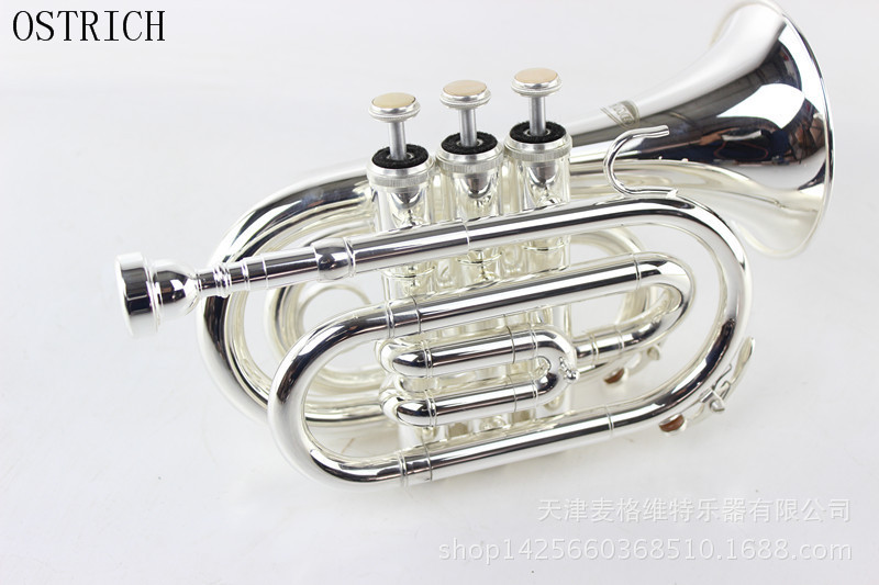 2017 New Popular OSTRICH Bb Flat Silver Nickel Pocket Trumpet W/Free Case+Mouthpiece