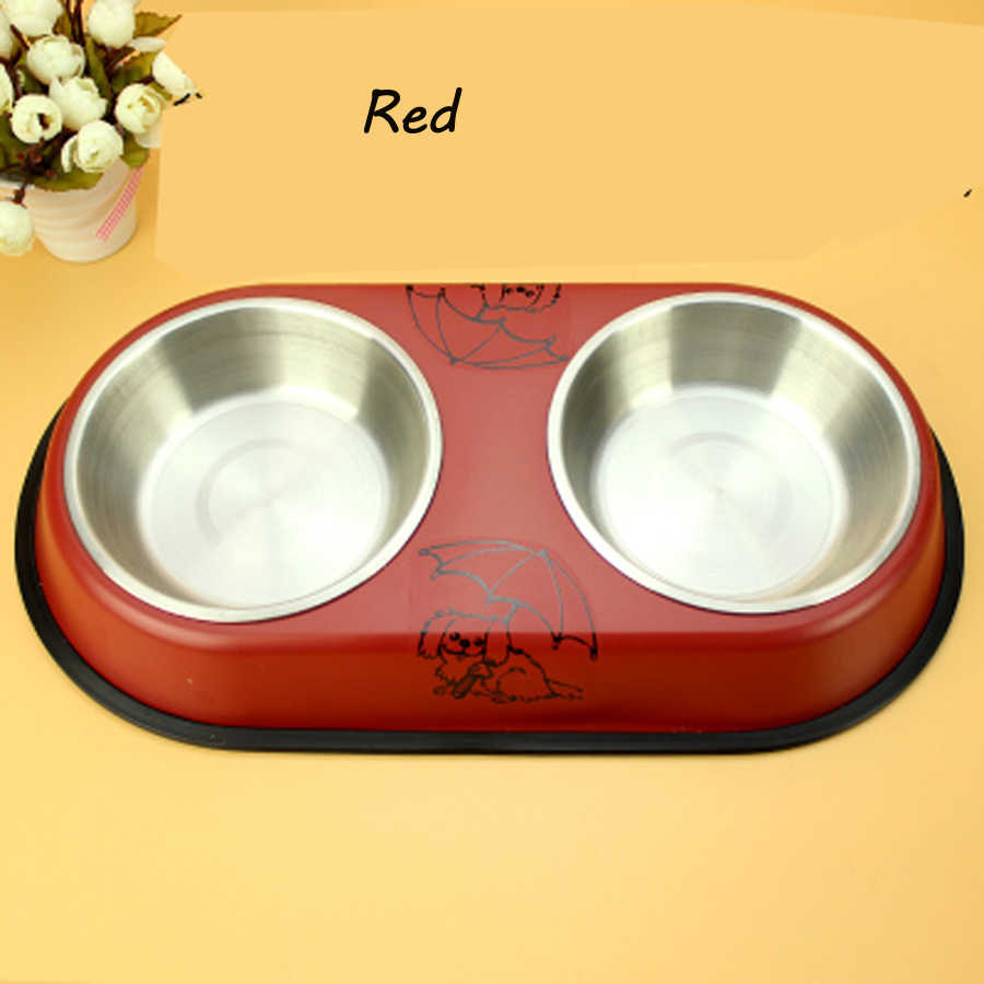 Bol Com Hondenmand Pet Stainless Steel Cat Dog Bowls Double Food Bowl Pets Water Dogs Feeding Bowl Ciotola Cane Plates Bol Chien Pets Goods 50z0499