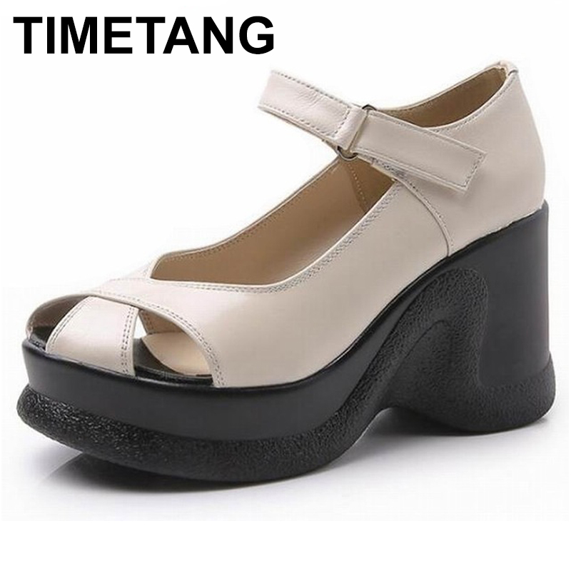 TIMETANG Verano de 2018 las nuevas sandalias de cuña sandalias de cuero genuino mujeres de moda tacones altos zapatos femeninos de verano-in Sandalias de mujer from zapatos    1