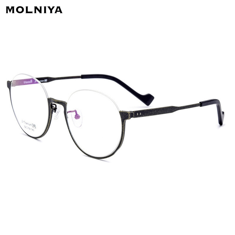 B Pure Titanium Glasses Frame Men Ultralight Vintage Women Prescription Eyeglasses Retro Myopia Optical Round Half
