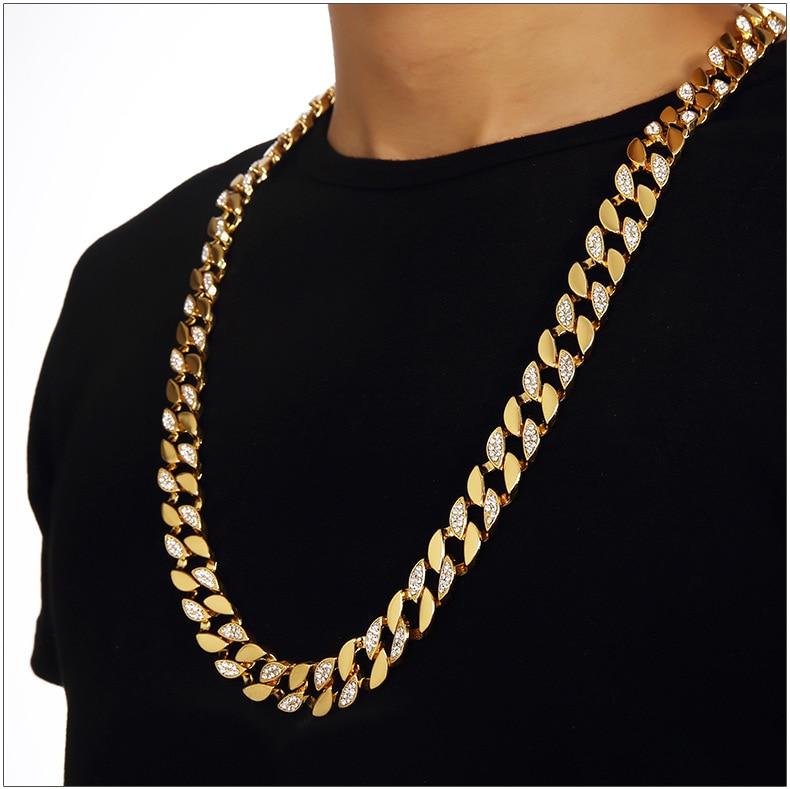 Hip Hop Bling cubain gourmette chaîne hommes or jaune rempli demi lisse demi zircone collier mâle de haute qualité cadeau