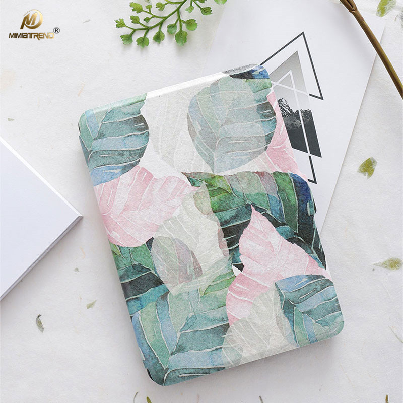 Mimiatrend Abstract Leaves PU Cover for Amazon Kindle Paperwhite 1 2 3 449 558 Voyage Case 6 inch Ebook Tablet Accessories Gift
