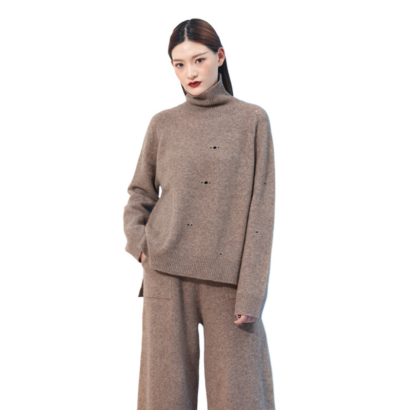 Yak wool sweater autumn high collar pullover sweater bottoming sweatershirt female hollow out irregular sweater women MF2722
