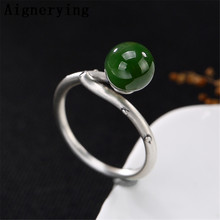 925 Sterling Silver Rings For Women Green Jade Adjustable Ring Handmade Jewelry Silver Rings Gift tray with Box Jewelry
