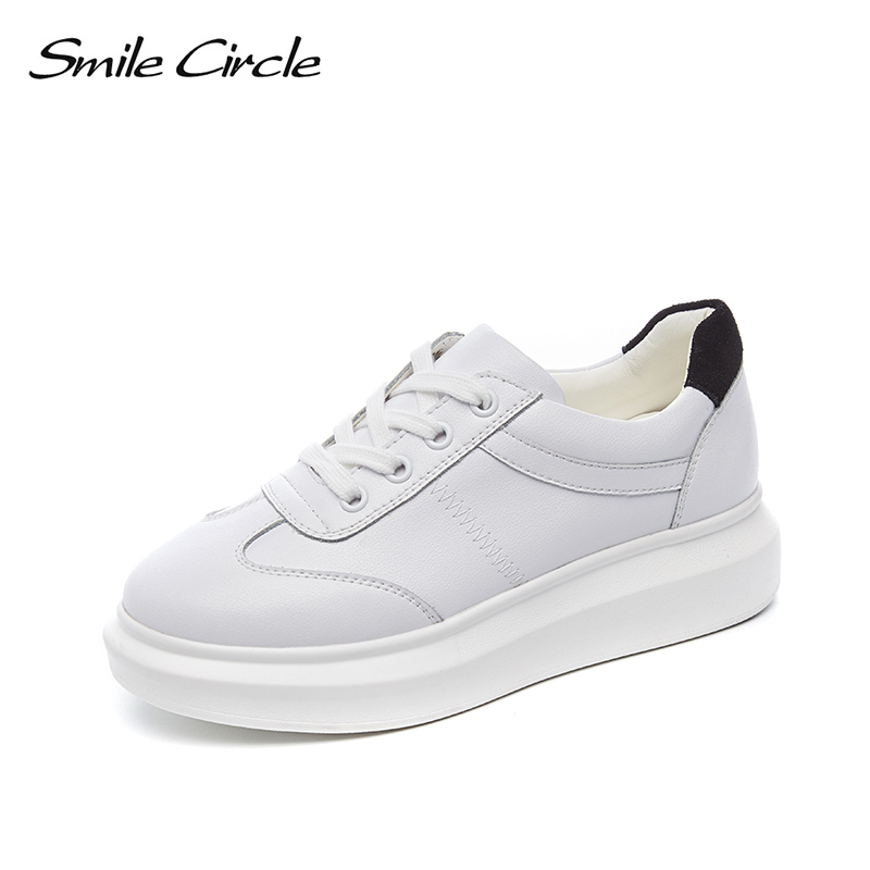 Smile Circle Genuine Leather Sneakers Women 2019 Spring new White casual Shoes Fashion Lace up Platform