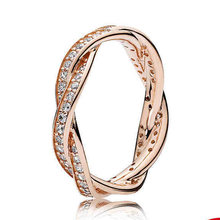 New 925 Sterling Silver Ring Rose Gold Pave Love Eternal Braided With Crystal Ring For Women Wedding Gift Fine Europe Jewelry(China)