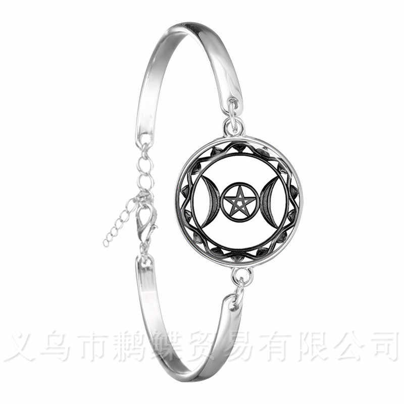 Triple Moon Goddess Chain Bracelet Pentagram Witch Jewelry 18mm Glass Dome Wiccan Silver Plated Charm Wicca Jewelry For Women
