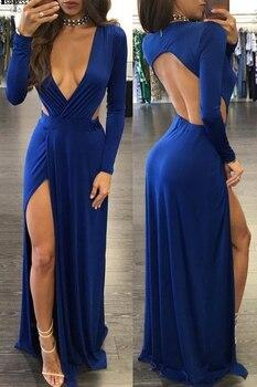 New Sexy Blue Chiffon Straight   V- Lecks   Evening Dress Floor Length Pleat Backless Side split Custom made
