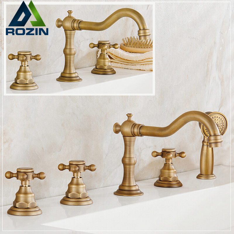 Deck Mounted Brass Antique Bathroom Tub Sink Faucet Widespread Bathtub Mixer Filler Brass Handshower цена