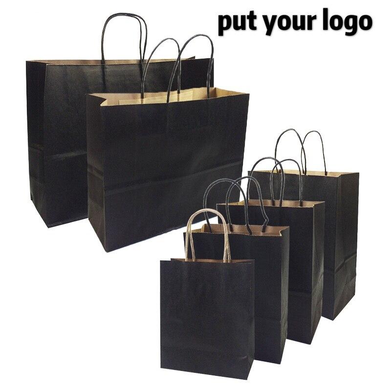 10 unids/lote bolsas de regalo con asas Multi-función de bolsas de papel negro tamaño 6 reciclable protección del medio ambiente bolsa