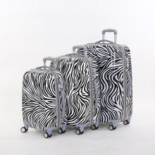 20 24 28inches(3 pieces/set) pc zebra printed trolley luggage sets on universal wheels,female fashion style travel luggage bags
