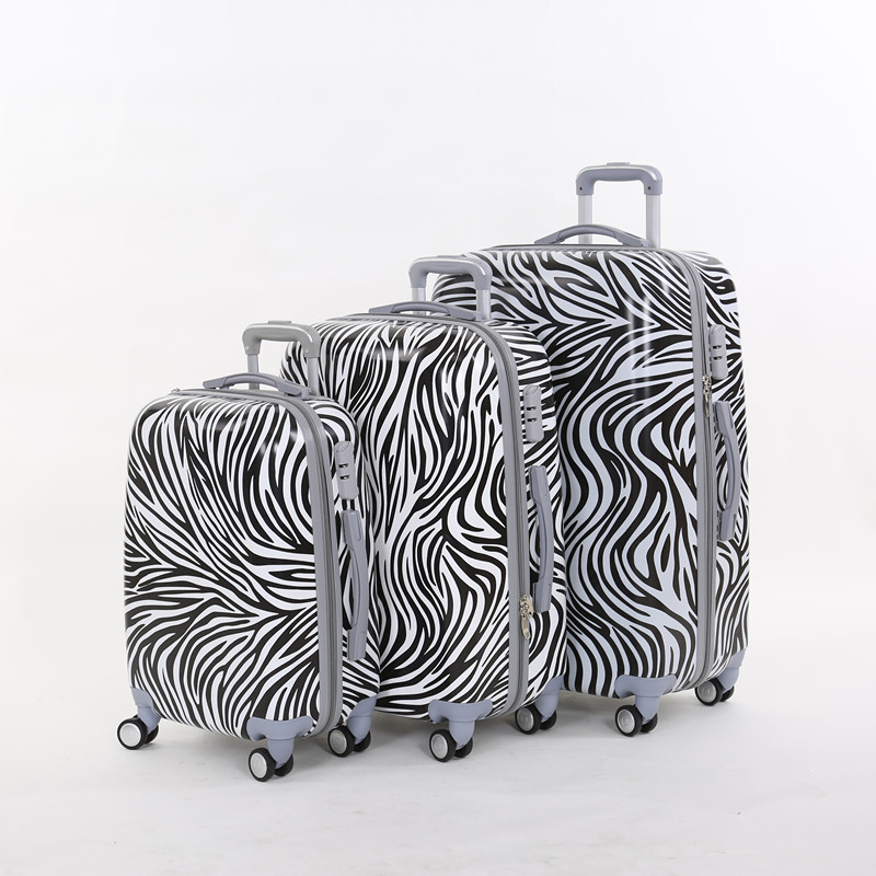 20 24 28inches(3 pieces/set) pc zebra printed trolley luggage sets on universal wheels,female fashion style travel luggage bags wholesale 14 20 24 28inches pc butterfly travel luggage sets 4 pieces universal wheels trolley luggage sets for women