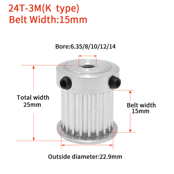 1 pz HTD 3 m Timing Puleggia 24 Denti Bore 5/6/6.35/8mm per la Larghezza 15mm 3 m cinghia Sincrona HTD3M Pulley24Teeth 24 t CNC tipo K