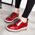 2017 spring Women Platform Shoes Increased Brogue Patent Leather Flats Lace Up Creepers Shoes Flat Brand Oxford Shoes For Women